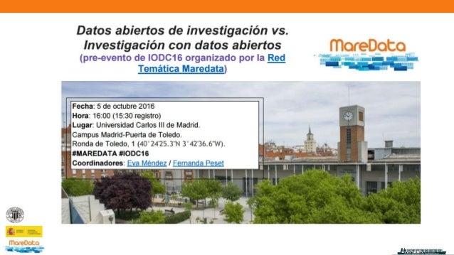¿Hoja de ruta para los datos de investigación en España? Conclusiones del proyecto Datasea y del workshop Madrid, 5 de oct...