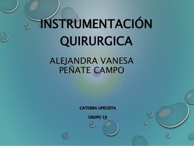 INSTRUMENTACIÓN  QUIRURGICA  ALEJANDRA VANESA  PEÑATE CAMPO  CATDERA UPECISTA  GRUPO 19
