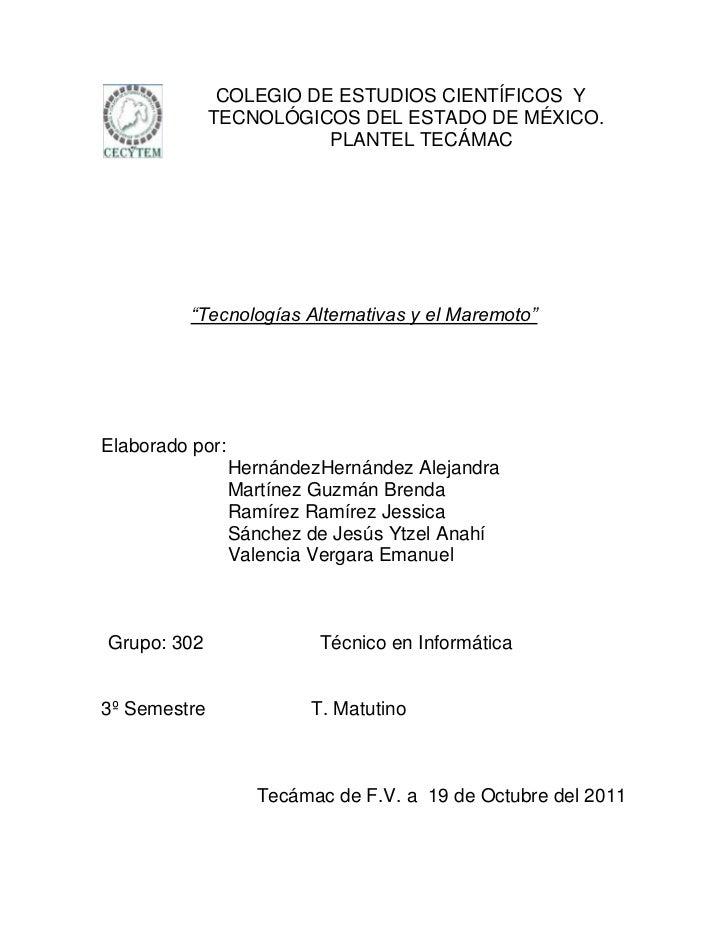 COLEGIO DE ESTUDIOS CIENTÍFICOS Y              TECNOLÓGICOS DEL ESTADO DE MÉXICO.                         PLANTEL TECÁMAC ...