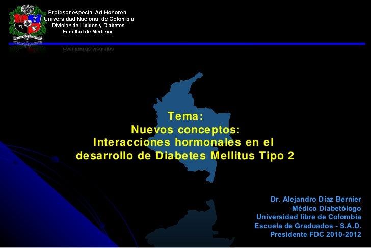 Tema: Nuevos conceptos: Interacciones hormonales en el  desarrollo de Diabetes Mellitus Tipo 2 Dr. Alejandro Díaz Bernier ...