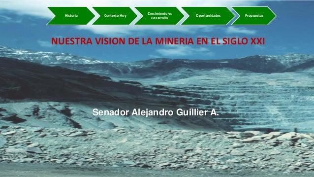Senador Alejandro Guillier A. NUESTRA VISION DE LA MINERIA EN EL SIGLO XXI Historia Contexto Hoy Crecimiento vs Desarrollo...