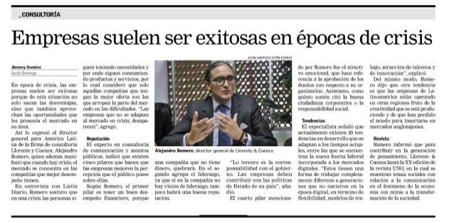 _O0NSU| .'lURIA  Empresas suelen ser exitosas en épocas de crisis  Juan Ranfiu smtn Dhmrqn     En época de crisis.  12::  e...