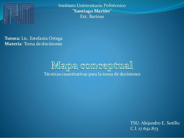 "Instituto Universitario Politécnico ""Santiago Mariño"" Ext. Barinas Tutora: Lic. Estefanía Ortega Materia: Toma de decision..."