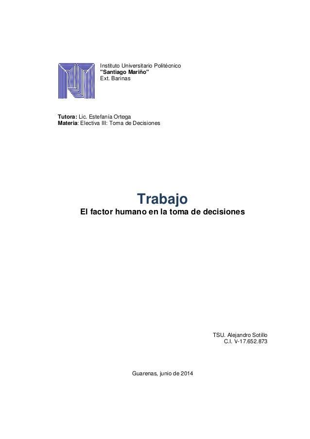 """Instituto Universitario Politécnico """"Santiago Mariño"""" Ext. Barinas Tutora: Lic. Estefanía Ortega Materia: Electiva III: To..."""