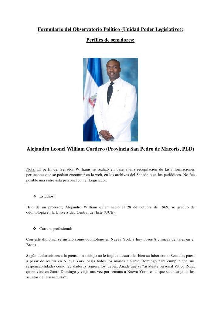 Formulario del Observatorio Político (Unidad Poder Legislativo):                                      Perfiles de senadore...