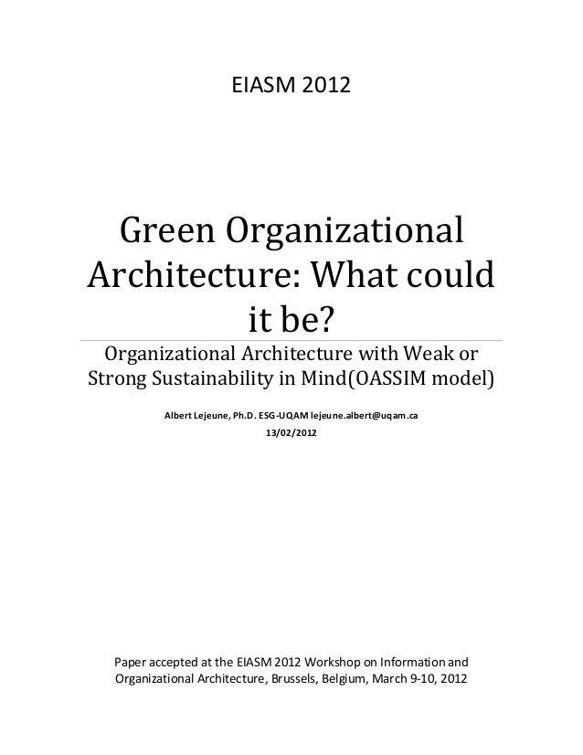 EIASM  2012    Green  Organizational   Architecture:  What  could   it  be?   Organizational  Architec...