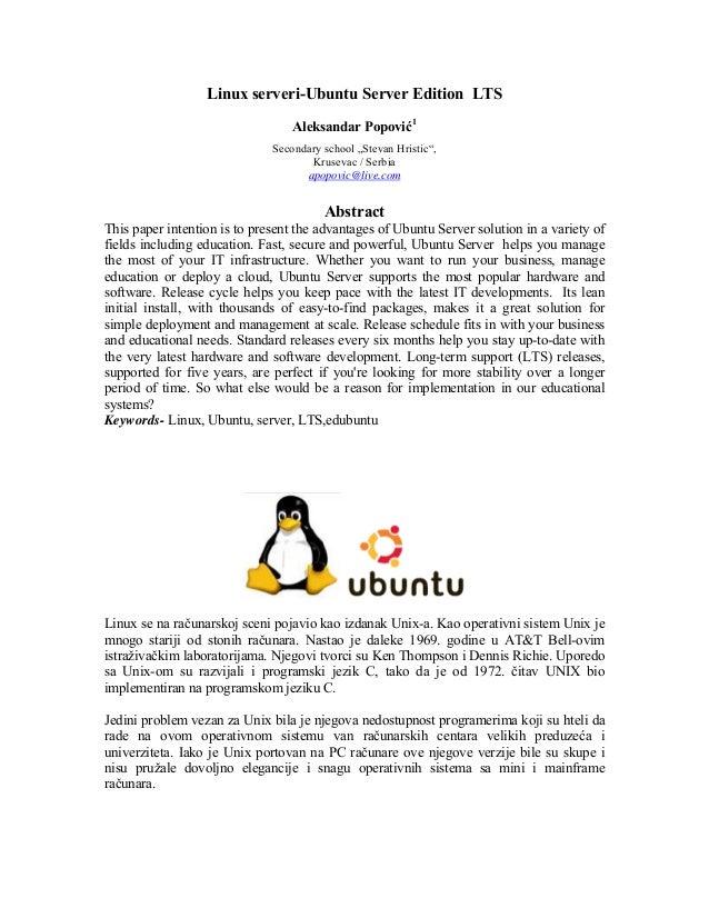 Linux serveri-Ubuntu Server Edition LTS                                  Aleksandar Popović1                              ...