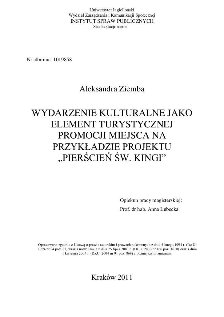 Uniwersytet Jagielloński                        Wydział Zarządzania i Komunikacji Społecznej                         INSTY...