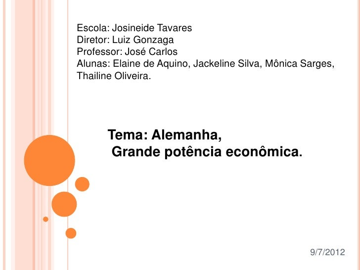 Escola: Josineide TavaresDiretor: Luiz GonzagaProfessor: José CarlosAlunas: Elaine de Aquino, Jackeline Silva, Mônica Sarg...