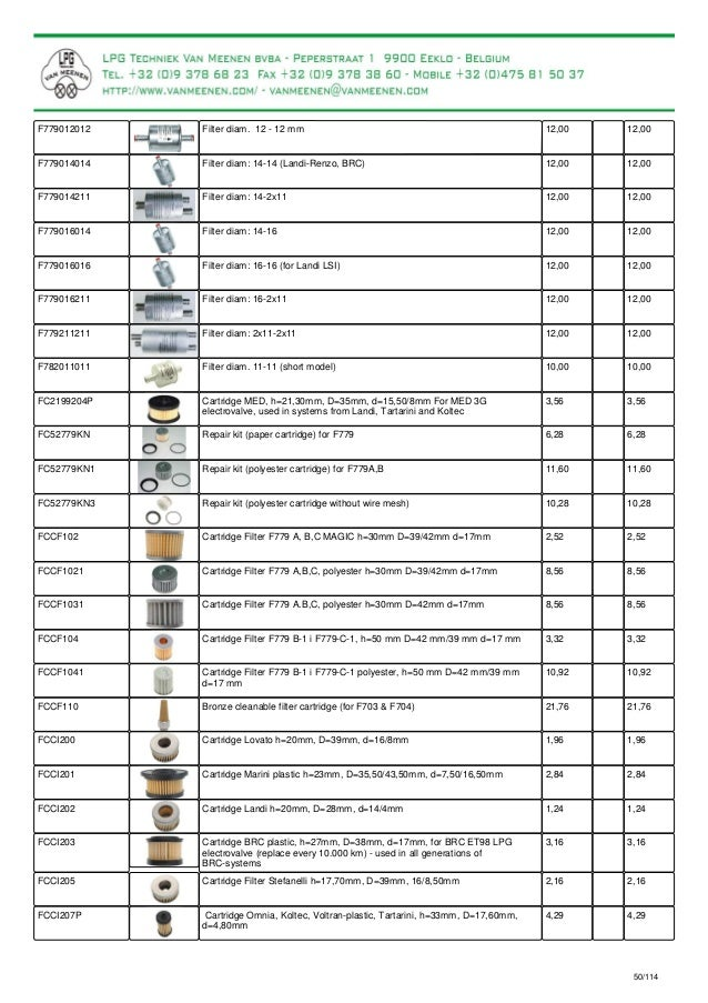 Catalogue for LPG-parts and LPG conversion kits