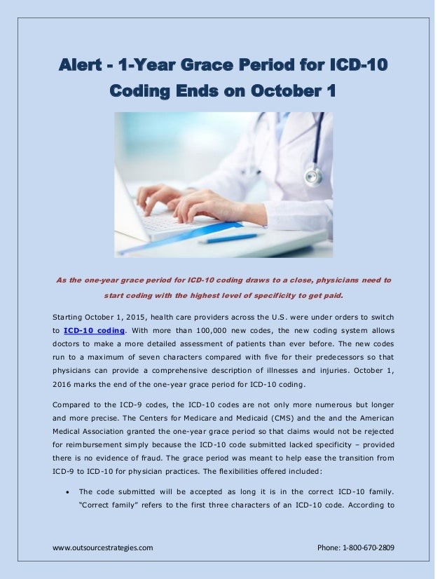 Alert - 1-Year Grace Period for ICD-10 Coding Ends on ...