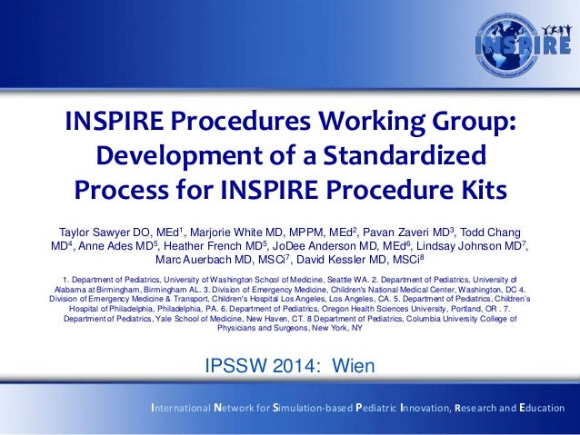 INSPIRE Procedures Working Group: Development of a Standardized Process for INSPIRE Procedure Kits Taylor Sawyer DO, MEd1,...