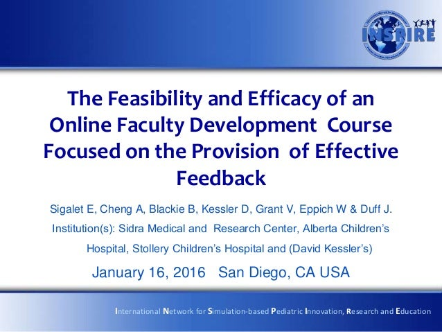 The Feasibility and Efficacy of an Online Faculty Development Course Focused on the Provision of Effective Feedback Sigale...