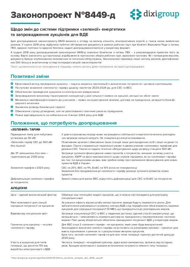 Законопроект №8449-д Щодо змін до системи підтримки «зеленої» енергетики та запровадження аукціонів для ВДЕ Позитивні змін...