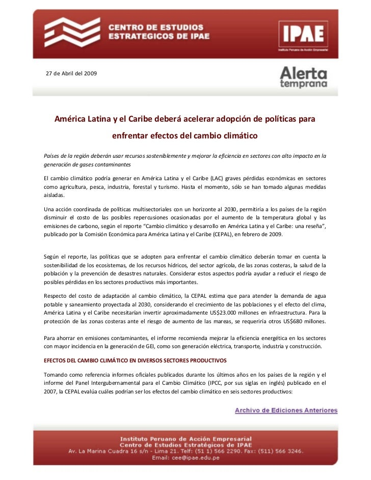 27 de Abril del 2009    América Latina y el Caribe deberá acelerar adopción de políticas para                            e...