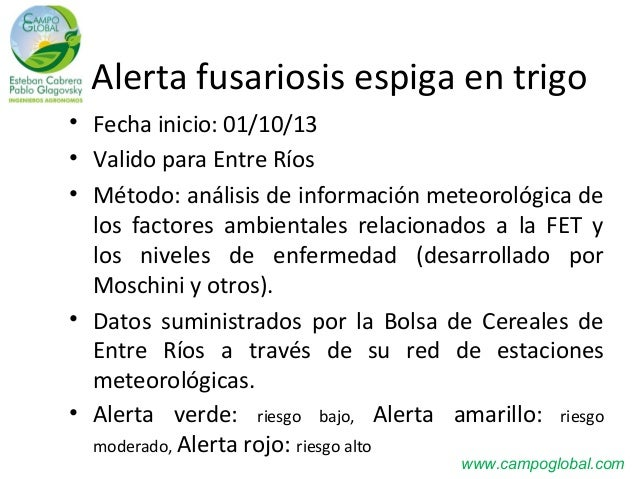 Alerta fusariosis espiga en trigo • Fecha inicio: 01/10/13 • Valido para Entre Ríos • Método: análisis de información mete...