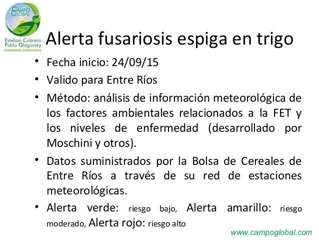 Alerta fusariosis espiga en trigo • Fecha inicio: 24/09/15 • Valido para Entre Ríos • Método: análisis de información mete...
