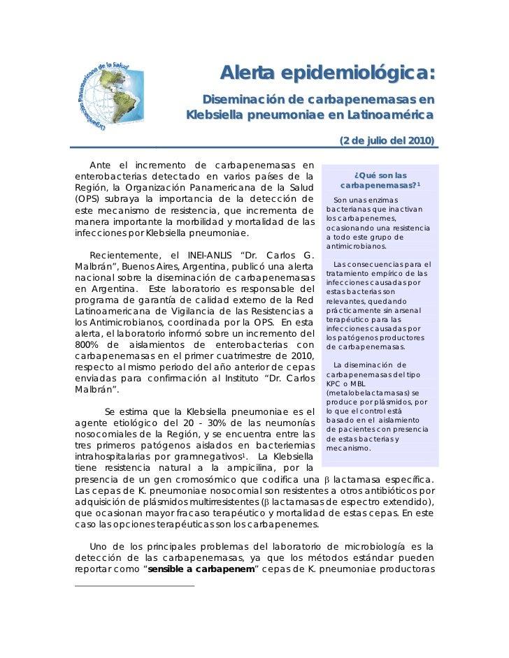 Alerta epidemiológica:                             Diseminación de carbapenemasas en                          Klebsiella p...