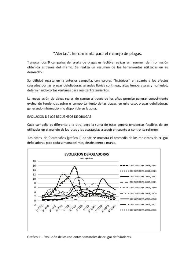 """""""Alertas"""", herramienta para el manejo de plagas.  Transcurridos 9 campañas del alerta de plagas es factible realizar un re..."""