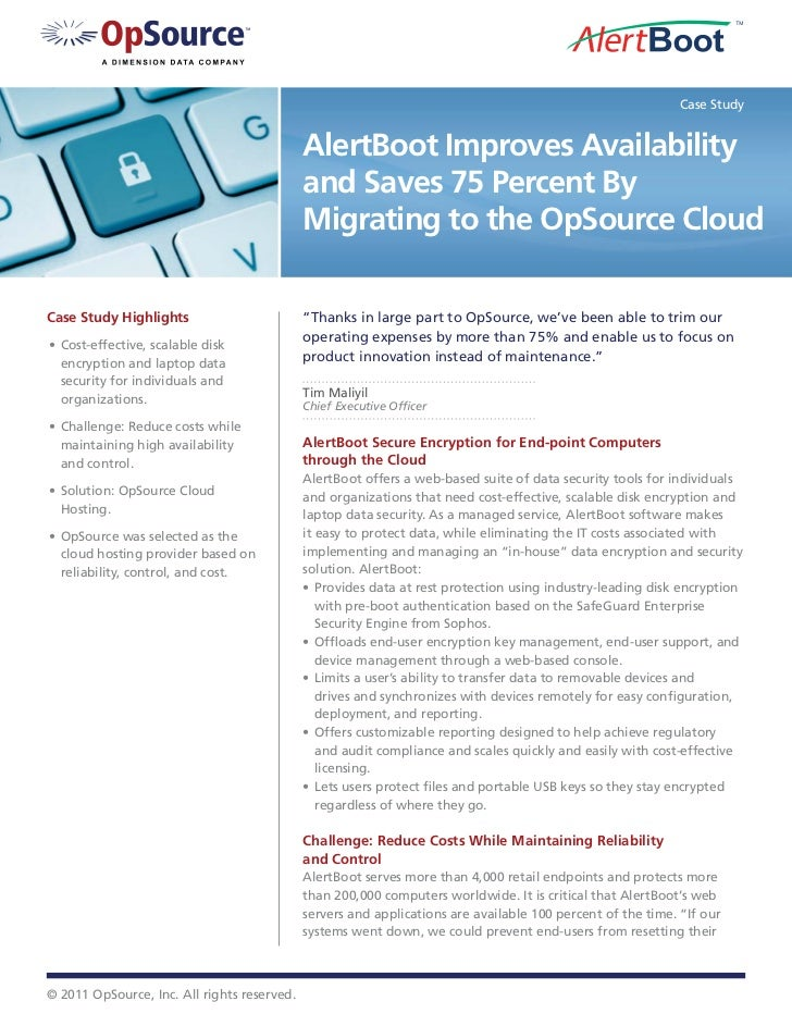 Case Study                                             AlertBoot Improves Availability                                    ...