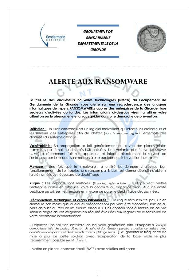 Alerte Aux Ransomware De La Cellule Ntech De La Gendarmerie Nationale