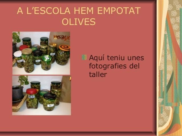 A L'ESCOLA HEM EMPOTAT        OLIVES            Aquí teniu unes            fotografies del            taller