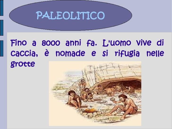 PALEOLITICOFino a 8000 anni fa. Luomo vive dicaccia, è nomade e si rifugia nellegrotte