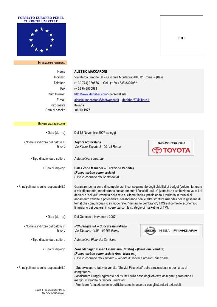 Curriculum Vitae Europeo Da Compilare E Scaricare Gratis