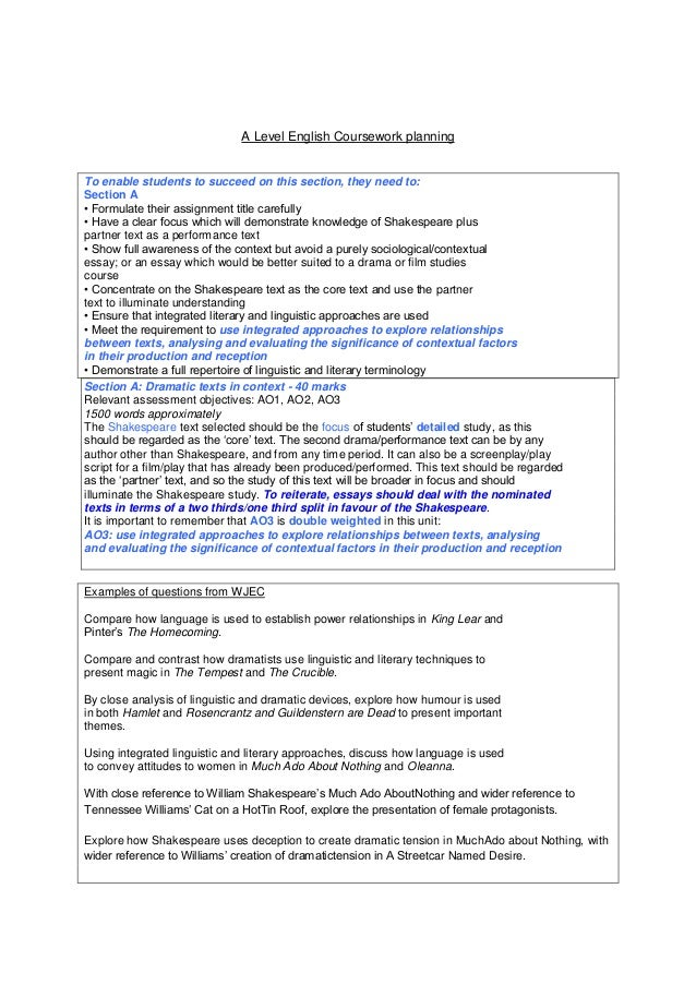 Aqa as english literature coursework deadline essay compare city and country