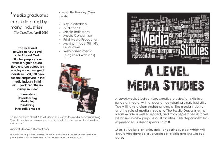 Media Studies Key Con-'media graduates                        cepts:are in demand by                           Representa...