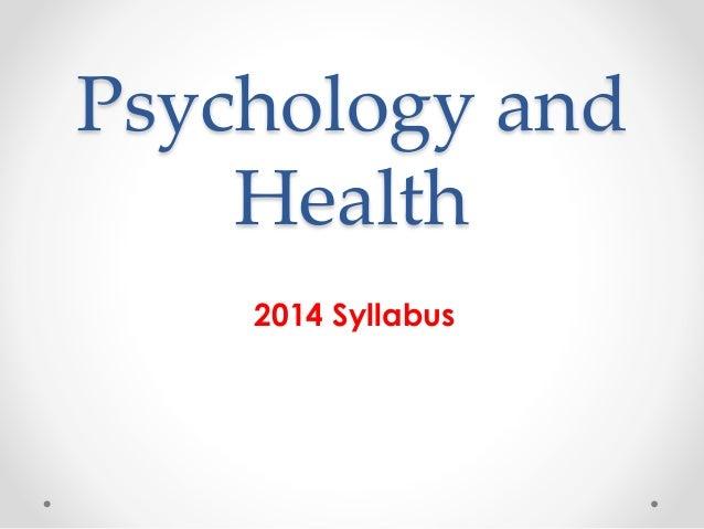 Psychology and Health 2014 Syllabus