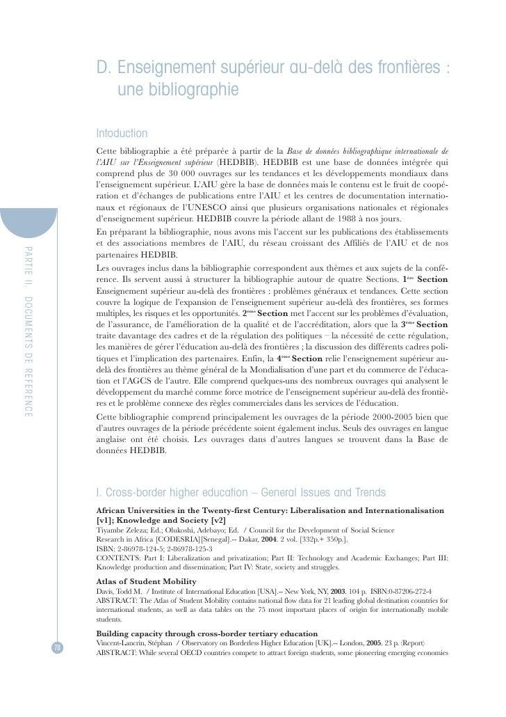 D. Enseignement supérieur au-delà des frontières :                                            une bibliographie           ...