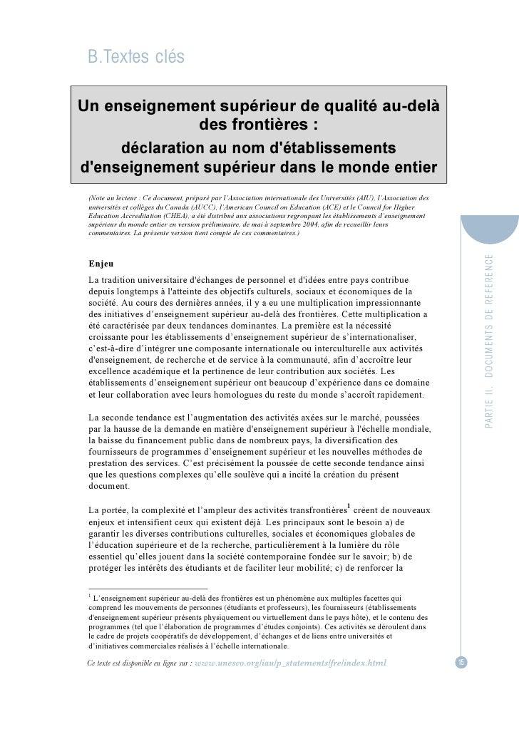 B.Textes clésUn enseignement supérieur de qualité au-delà               des frontières :     déclaration au nom détablisse...