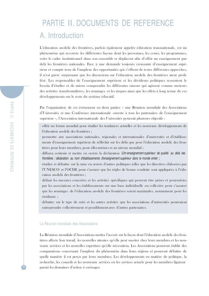PA R TIE  II.   DOCUMENTS  DE  REFERENCE PARTIE II. DOCUMENTS DE REFERENCE<br />A. Introduction<br />L'éducation au-delà d...