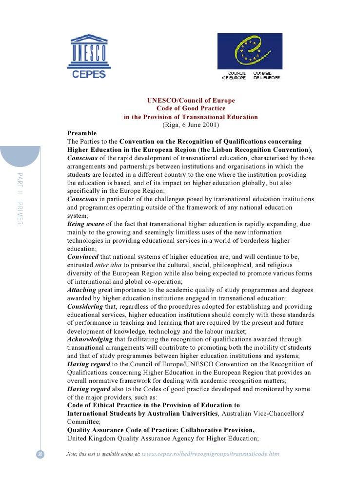 UNESCO/Council of Europe                                                         Code of Good Practice                    ...