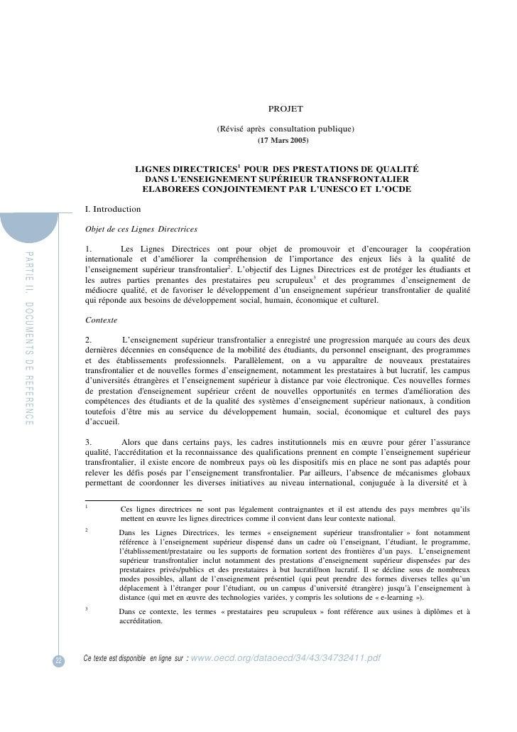 PAR TIE  II.   DOCUMENTS  DE  REFERENCE <br />PROJET<br />(Révisé après  consultation publique)<br />(17 Mars 2005)<br />L...