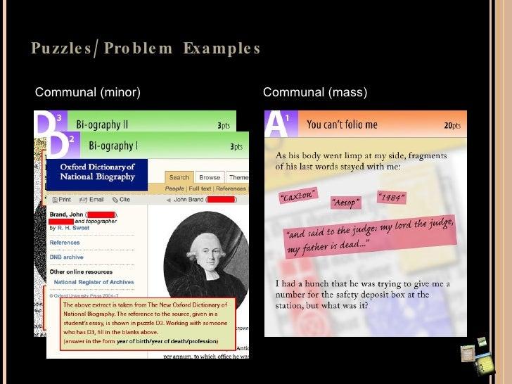 Puzzles/Problem Examples Communal (minor) Communal (mass)