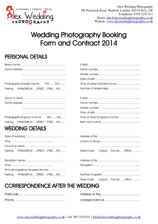 Wedding Photography Contracts Examples: Wedding Photography Booking Form And Contract 2014
