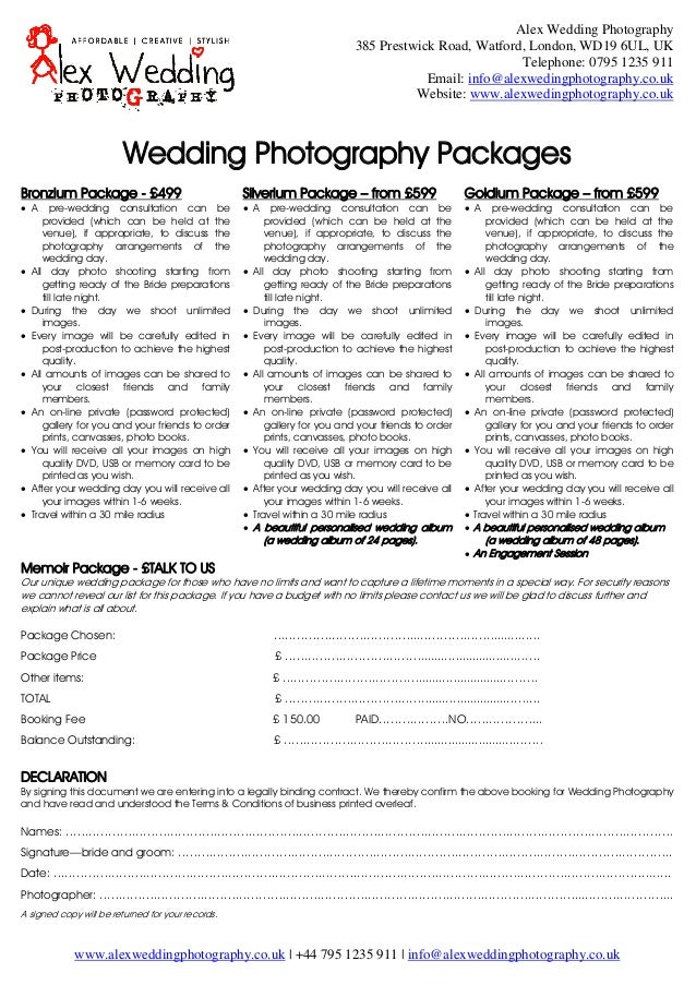 Wedding Photography Booking Form And Contract