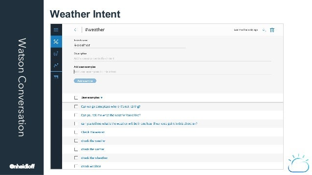 WatsonConversation Weather Intent @nheidloff