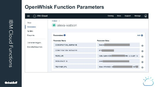 IBMCloudFunctions OpenWhisk Function Parameters @nheidloff