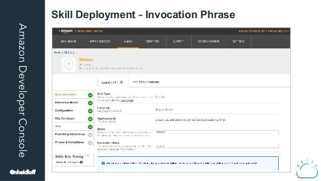 AmazonDeveloperConsole Skill Deployment – Invocation Phrase @nheidloff