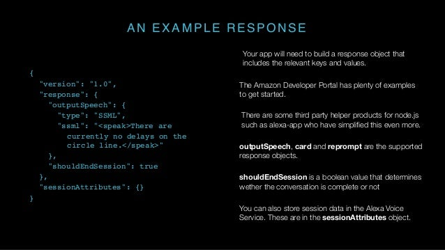 AN EXAMPLE RESPONSE Your app will need to build a response object that includes the relevant keys and values. The Amazon D...