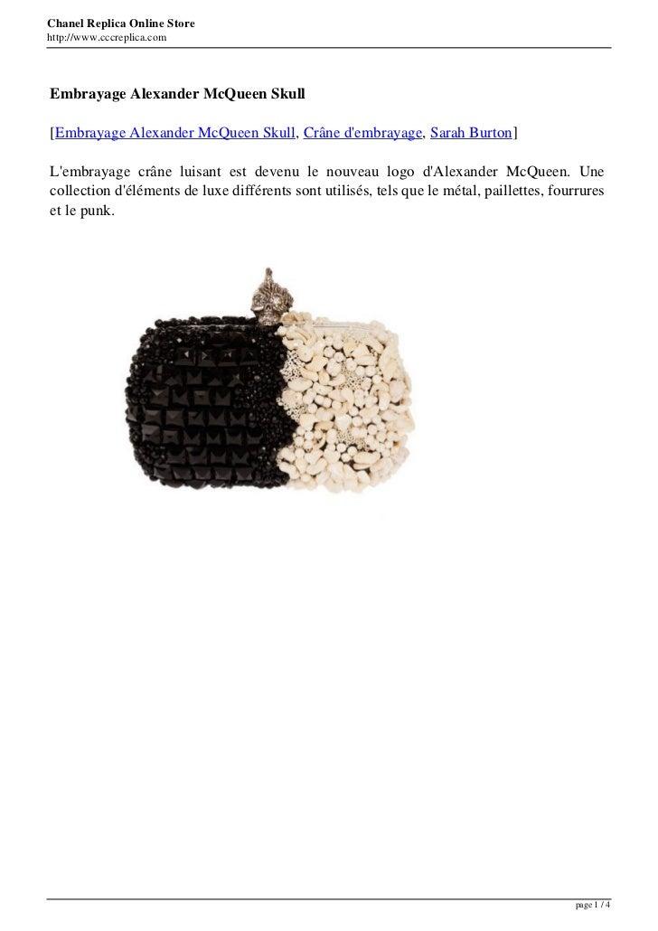 Chanel Replica Online Storehttp://www.cccreplica.comEmbrayage Alexander McQueen Skull[Embrayage Alexander McQueen Skull, C...