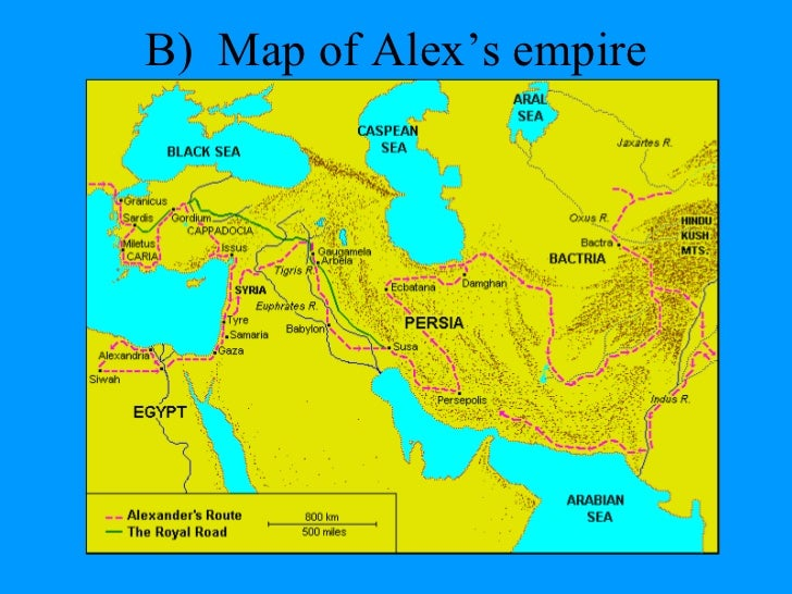 alexander the great  b map of alex s empire