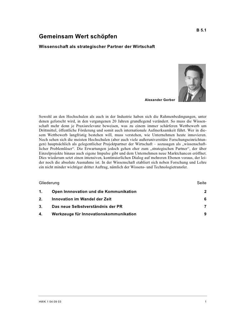 B 5.1 Gemeinsam Wert schöpfen Wissenschaft als strategischer Partner der Wirtschaft                                       ...