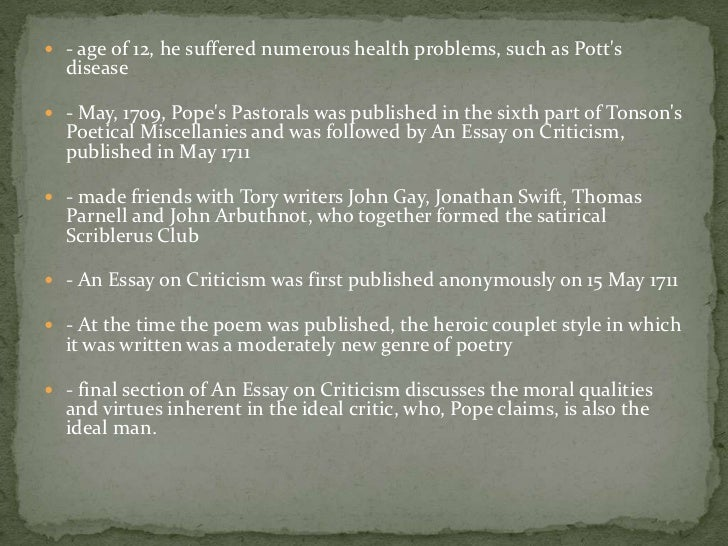 "alexander pope essay on criticism part 2 Restoration volume 391-2 alexander pope's an essay on criticism part of the ""imprint of for 1688 david alvarez an essay essay on criticism an essay."