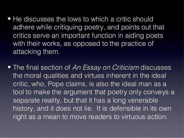 Essay criticism pope discusses rules