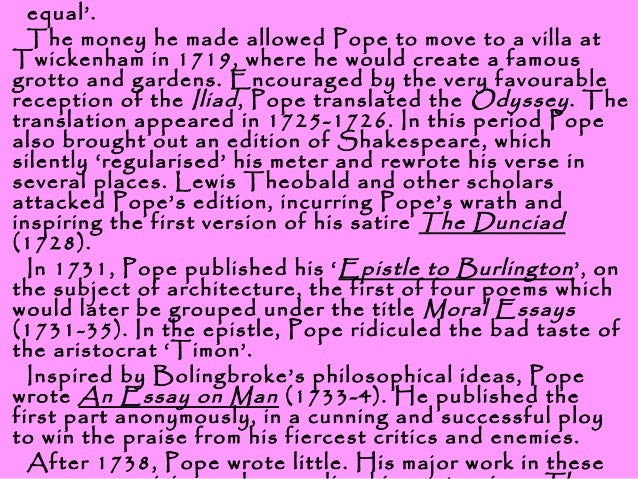 "alexander pope essay criticism part 1 Alexander pope (1) - download as word alexander pope (21 alexander pope created a lot of works including ""an essay on criticism (1711) pope also."