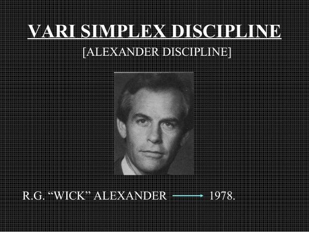 "VARI SIMPLEX DISCIPLINE [ALEXANDER DISCIPLINE] R.G. ""WICK"" ALEXANDER 1978."